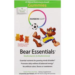 Раинбов Лигхт, Bear Essentials, Multivitamin & Multimineral, Gummies, Strawberry, Lemon & Orange Flavors, 30 Packets, 3 Gummies Each отзывы