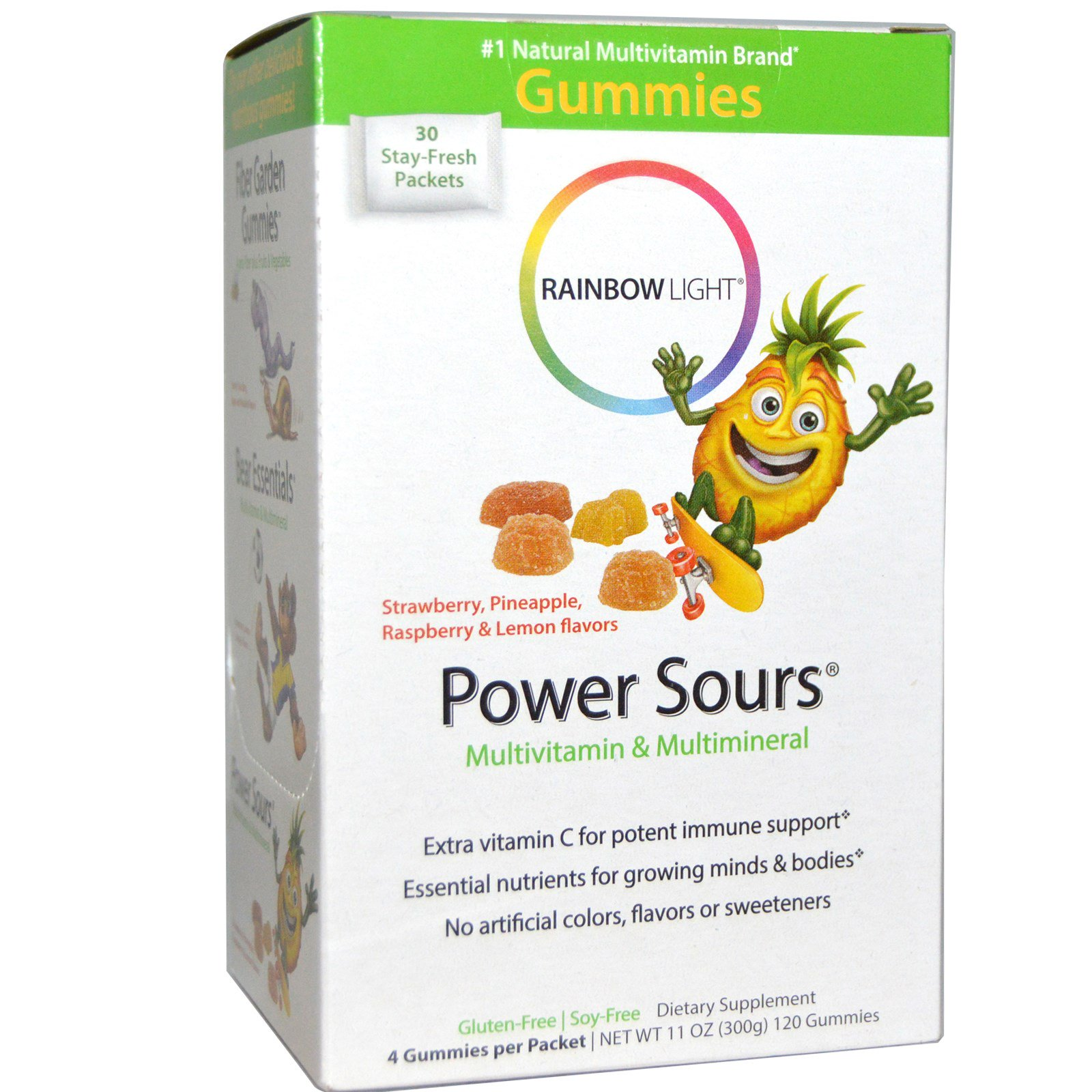 Rainbow Light, Gummy Power Sours, мультивитамины и мультиминералы,  терпкие фруктовые вкусы, 30 пакетиков, 12.7 унций (360 г)