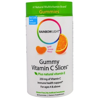 Rainbow Light, Gummy Vitamin C Slices, Tangy Orange Flavor, 90 Gummies