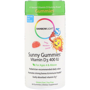 Раинбов Лигхт, Sunny Gummies, Vitamin D3, For Ages 4 & Above, Tangy Mandarin Orange, 400 IU, 60 Gummies отзывы покупателей