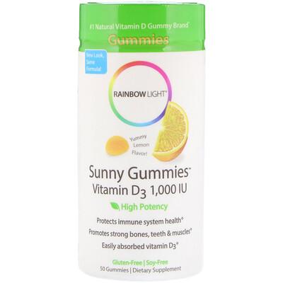 Rainbow Light 維生素 D3 陽光軟糖,美味檸檬,1000 國際單位,50 粒軟糖