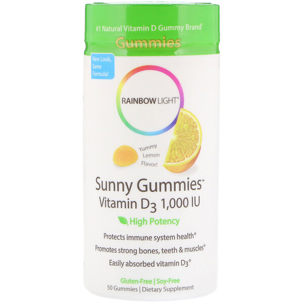 Rainbow Light, Sunny Gummies, Vitamin D3 , Lemon Flavor, 1,000 IU, 50 Gummies