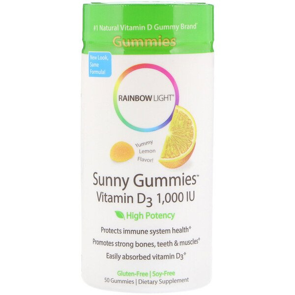 Sunny Gummies, Vitamin D3 , Lemon Flavor, 1,000 IU, 50 Gummies