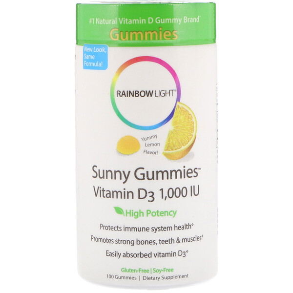 Rainbow Light, Sunny Gummies con Vitamina D3, Rico Sabor Limon, 1,000 IU, 100 Gomitas