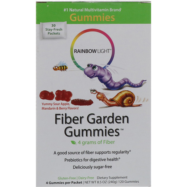 Rainbow Light, Fiber Garden Gummies, Sour Berry, Apple & Mandarin Flavors, 30 Packets, 4 Gummies (8 g) Each