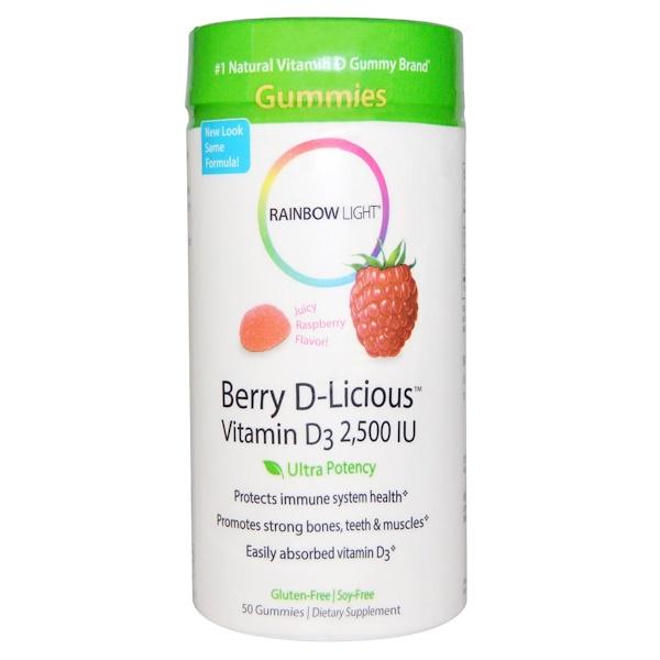 Rainbow Light, Berry D-Licious, Vitamin D3, Raspberry Flavor, 2,500 IU, 50 Gummies