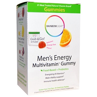 Rainbow Light, Men's Energy Multivitamin Gummy, Delicious Orange Zest Flavor, 30 Packets
