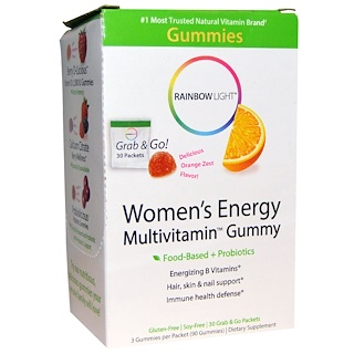 Rainbow Light, Women's Energy Multivitamin Gummy, Delicious Orange Zest Flavor, 30 Packets