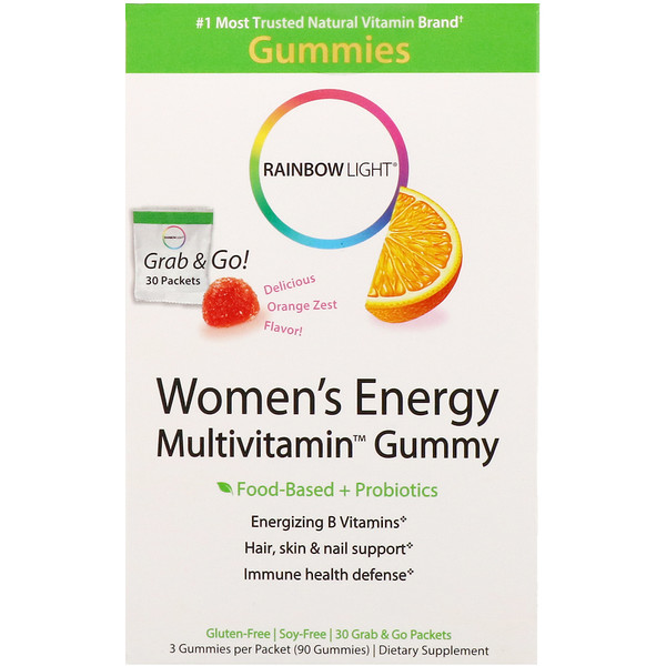 Women's Energy Multivitamin Gummy, Delicious Orange Zest Flavor, 30 Grab & Go Packets
