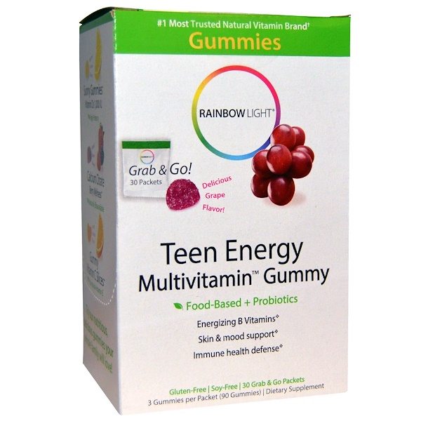 :Rainbow Light, Teen Energy Multivitamin Gummy, Delicious Grape Flavor, 30 Packets