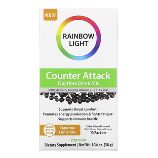 Rainbow Light, Counter Attack,日間混合飲品,含接骨木漿果、人參、維生素 C、B12、鋅,接骨木柑橘,10 包,每包 0.1 盎司(3.8 克)
