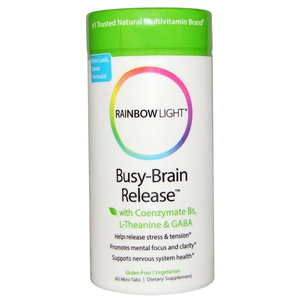 Rainbow Light, Система высвобождения Busy-Brain с коферментным витамином B, L-тианином и GABA, 60 мини-таблеток (Discontinued Item)
