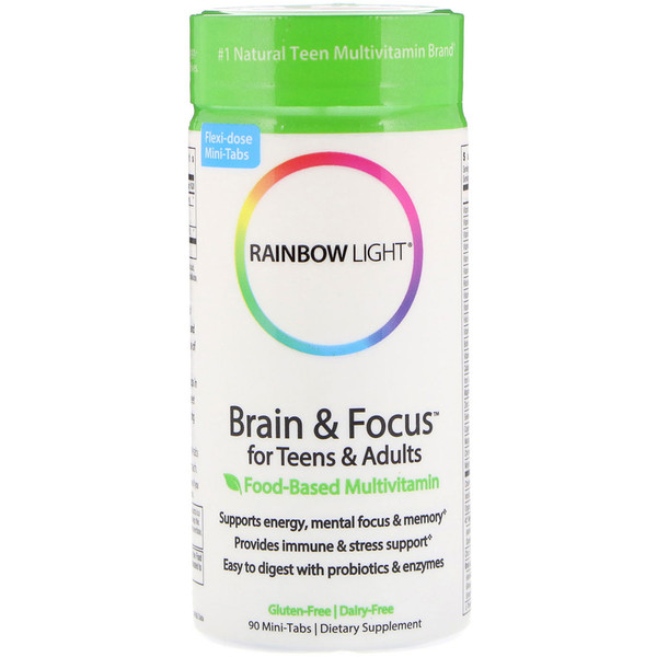 Rainbow Light, Brain & Focus para adolescentes y adultos, Multivitamínico a base de alimentos, 90 minicomprimidos