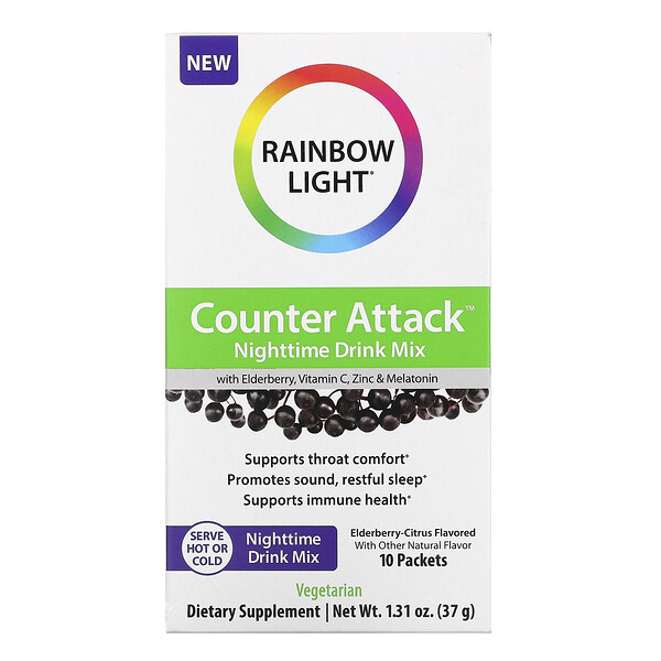 Counter Attack, Nighttime Drink Mix with Elderberry, Vitamin C, Zinc and Melatonin, Elderberry-Citrus, 10 Packets, 0.1 oz (3.7 g) Each