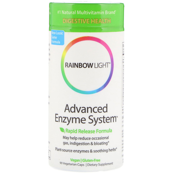 Rainbow Light, Advanced Enzyme System, Rapid Release Formula, 90 Vegetarian Caps
