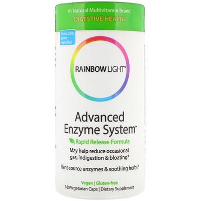 Купить Rainbow Light Advanced Enzyme System, формула быстрого высвобождения, 180 вегетарианских капсул