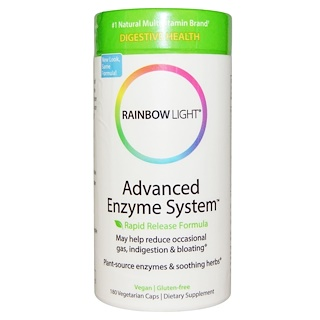 Rainbow Light, Advanced Enzyme System, Rapid Release Formula, 180 Vegetarian Caps
