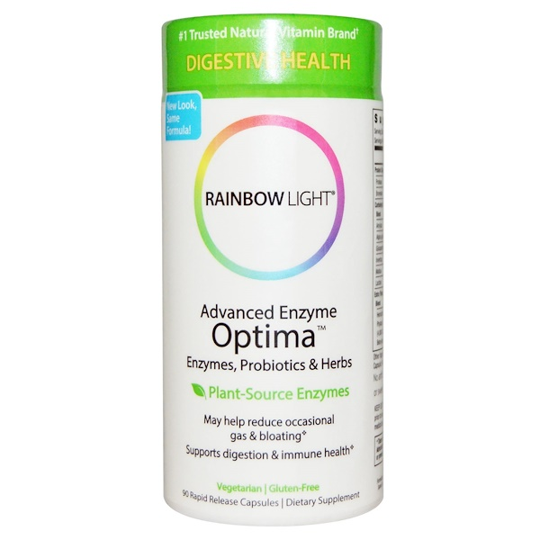 Rainbow Light, Advanced Enzyme Optima, Enzymes, Probiotics & Herbs, 90 Rapid Release Capsules (Discontinued Item)