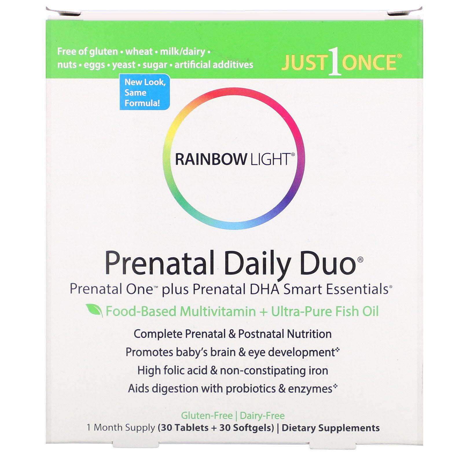 Rainbow Light, Prenatal Daily Duo, Prenatal One plus Prenatal DHA Smart Essentials, 1 Month Supply (30 Tablets + 30 Softgels)