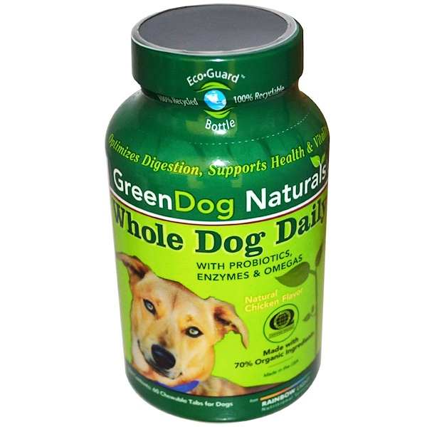 Rainbow Light, GreenDog Naturals, Whole Dog Daily, Natural Chicken Flavor, For Dogs, 60 Chewable Tabs (Discontinued Item)