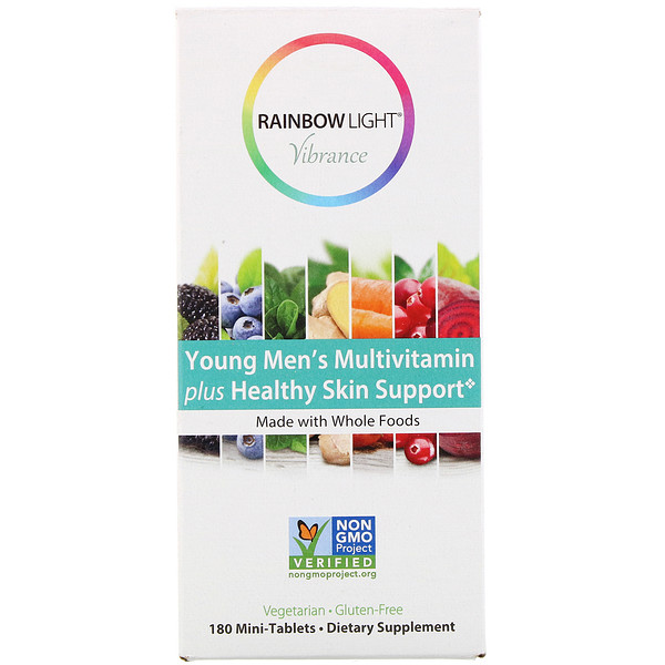 Rainbow Light, Vibrance, Young Men's Multivitamin plus Healthy Skin Support, 180 Mini-Tablets