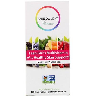 Купить Rainbow Light Vibrance, мультивитамины для девочек-подростков, способствуют здоровью кожи, 180мини-таблеток