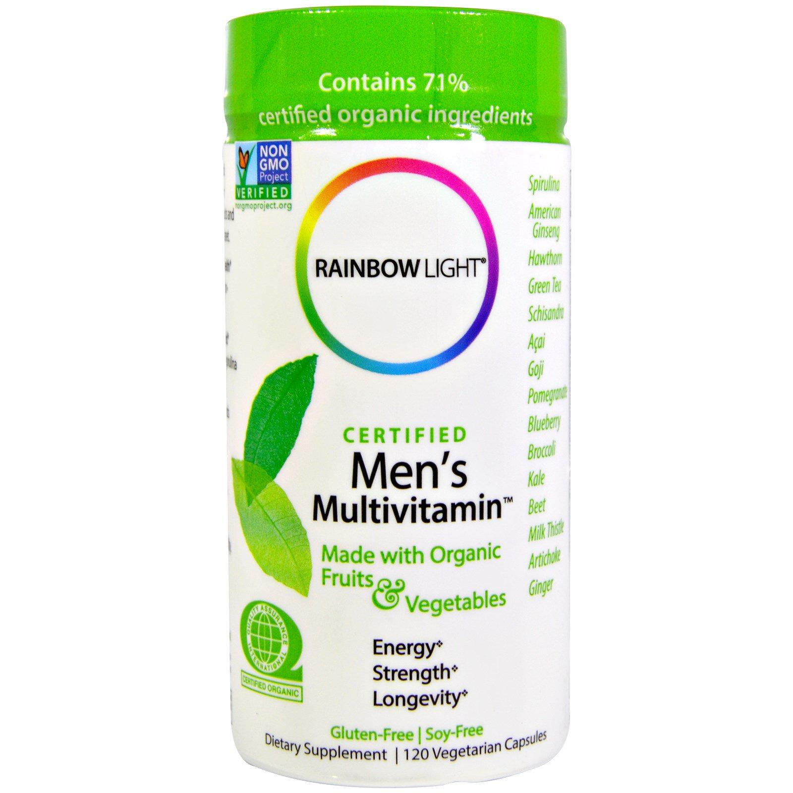 Rainbow Light, Сертифицированный поливитамин для мужчин, 120 капсул на растительной основе