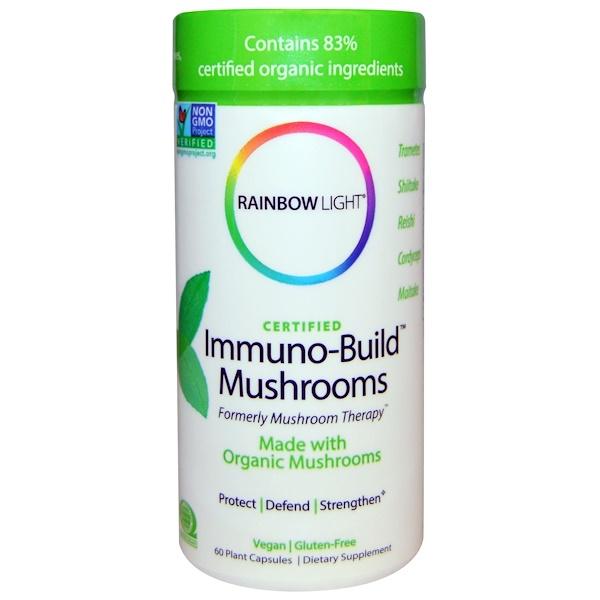 Rainbow Light, Сертифицировано, Грибы Immuno-Build, 60 растительных капсул (Discontinued Item)