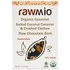 Rawmio, لحاء شوكولاتة خام عضوي بجوز الهند المملح والكراميل والكاجو المطحون شهي، 1.76 أونصة (50غ)