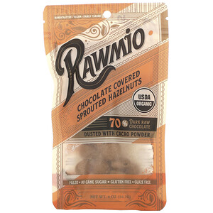 Rawmio, Chocolate Covered Sprouted Hazelnuts, 2 oz (56.7 g)