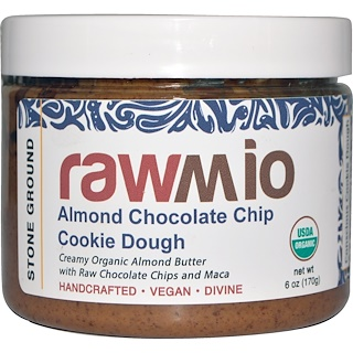 Rawmio, Pasta de masa de galletas de chocolate y almendras con maca, 6 oz (170 g)