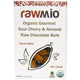 Rawmio, Corteza de chocolate crudo orgánica gourmet con cerezas amargas y almendras, 1.76 oz (50 g)