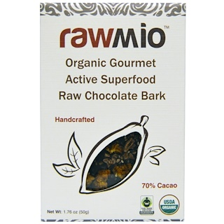Rawmio, Organic Gourmet Active Superfood Raw Chocolate Bark, 1.76 oz (50 g)