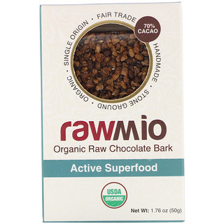 Rawmio, Organic Active Superfood Raw Chocolate Bark, 1.76 oz (50 g)
