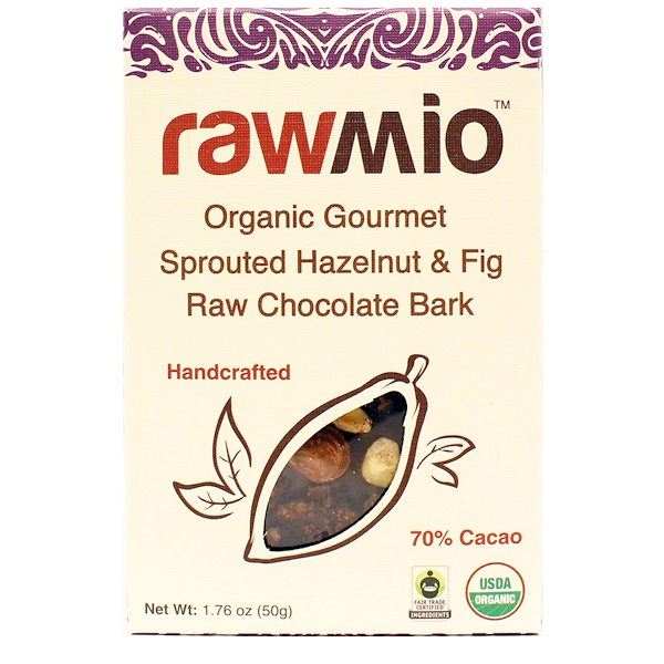 Rawmio, Organic Gourmet Hazelnut & Fig Raw Chocolate Bark, 1.76 oz (50 g) (Discontinued Item)