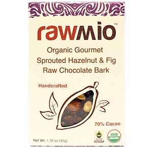 """Rawmio, Organic Gourmet фундук и инжир с """"сырым"""" шоколадом, 1.76 унции (50 г)"""