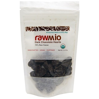 Rawmio, Dark Chocolate Hearts, 2 oz (57 g)