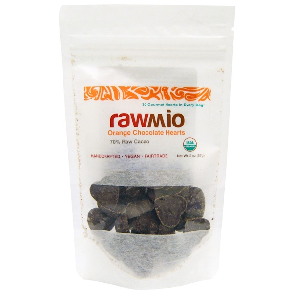 Rawmio, Orange Chocolate Hearts, 2 oz (57 g)