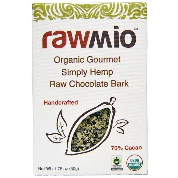 Rawmio, Organic Gourmet Simply Hemp Raw Chocolate Bark, 1.76 oz (50 g) (Discontinued Item)