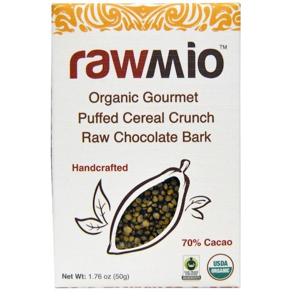 Rawmio, Organic Gourmet Puffed Cereal Crunch Raw Chocolate Bark, 1、76 oz (50 g)