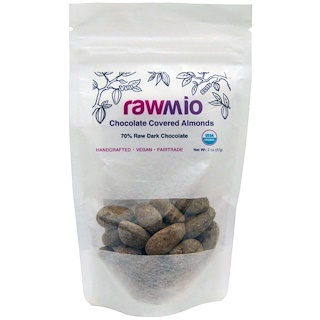 Rawmio, Chocolate Covered Almonds, 2 oz (57 g)