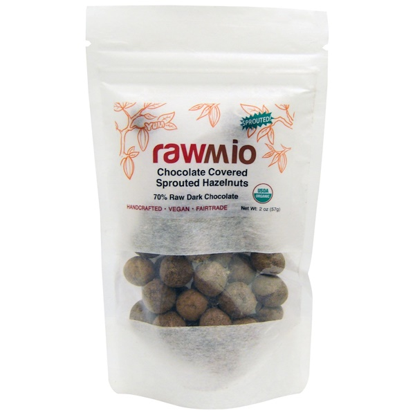 Rawmio, Chocolate Covered Sprouted Hazelnuts, 2 oz (57 g)