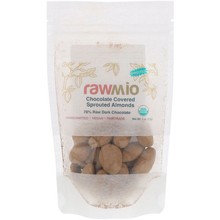 Rawmio, شوكولاته اللوز المورق المغطى، 2أونصة (57 غرام)