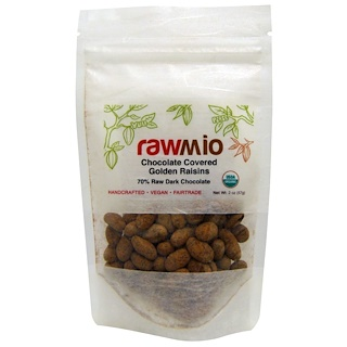 Rawmio, Chocolate Covered Golden Raisins, 2 oz (57 g)