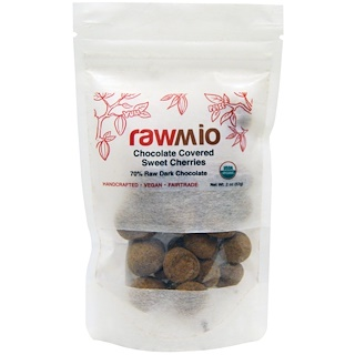 Rawmio, Chocolate Covered Sweet Cherries, 2 oz (57 g)