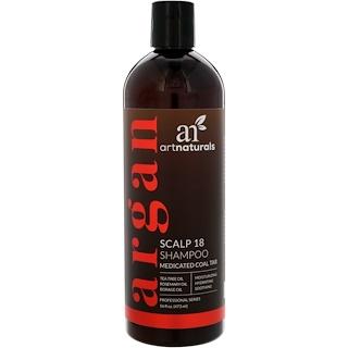 Artnaturals, Scalp 18 Medicated Coal Tar Shampoo, 16 fl oz (473 ml).