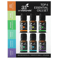 Artnaturals, Top 6 Essential Oils Set, 6 Piece Set, .33 fl oz (10 ml) Each