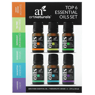 Artnaturals, Top 6 Essential Oils Set, 6 Piece Set, .33 fl oz (10 ml) Each