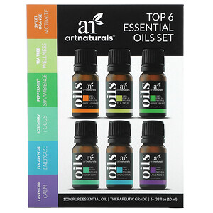 Artnaturals, Top 6 Essential Oils Set, 6 Piece Set, .33 fl oz (10 ml) Each'