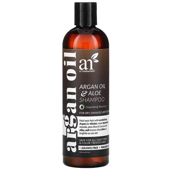 Argan Oil & Aloe Shampoo, For Dry, Damaged, Brittle Hair, 12 fl oz (355 ml)